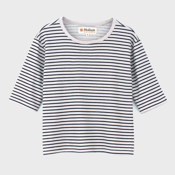 product: Mollusk Half Sleeve Hemp Crew Fog/Navy Stripe