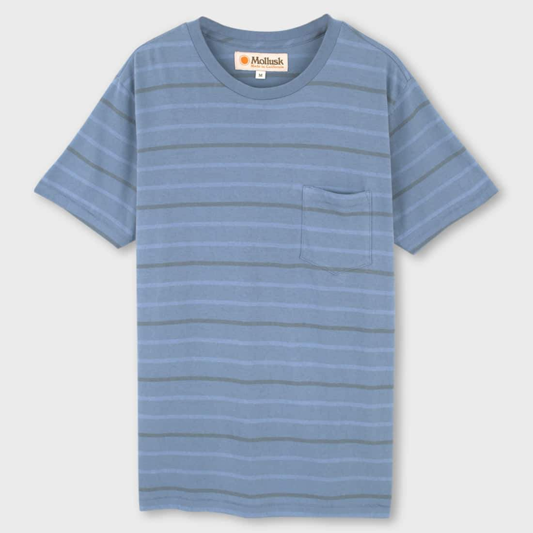 Mollusk Striped Pocket T-shirt Light Indigo Stripe