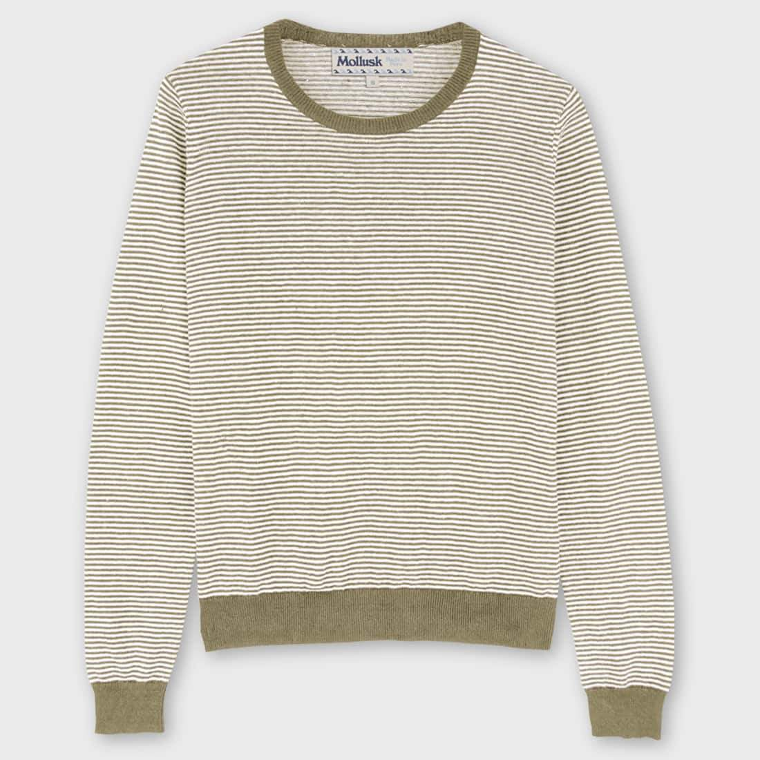 Mollusk Mini Stripe Sweater Tan Stripe