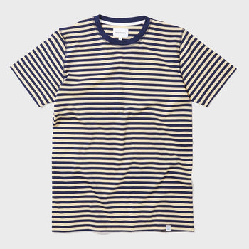 product: Norse Projects Niels Basic S/S T-shirt Stripe Navy / Strand Yellow