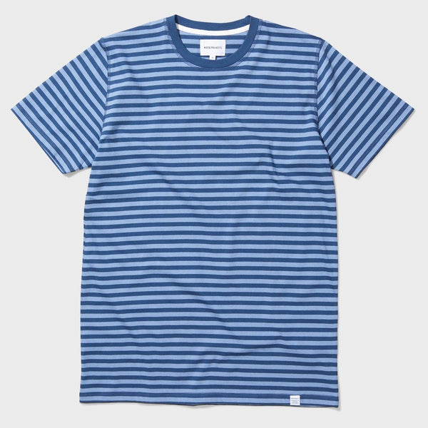product: Norse Projects Niels Basic SS Stripe Boundary Blue / Marginal Blue
