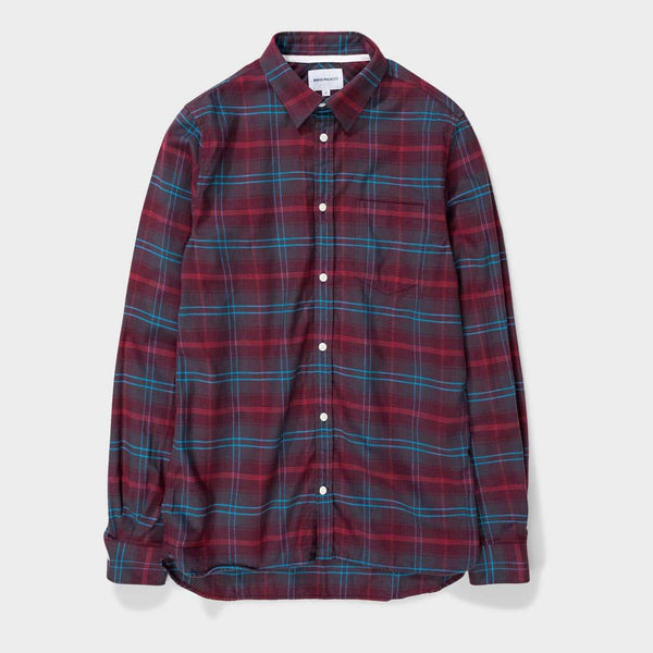 product: Norse Projects Hans Brushed Check Hermatite Red