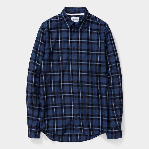product: Norse Projects Hans Classic Check Dark Navy