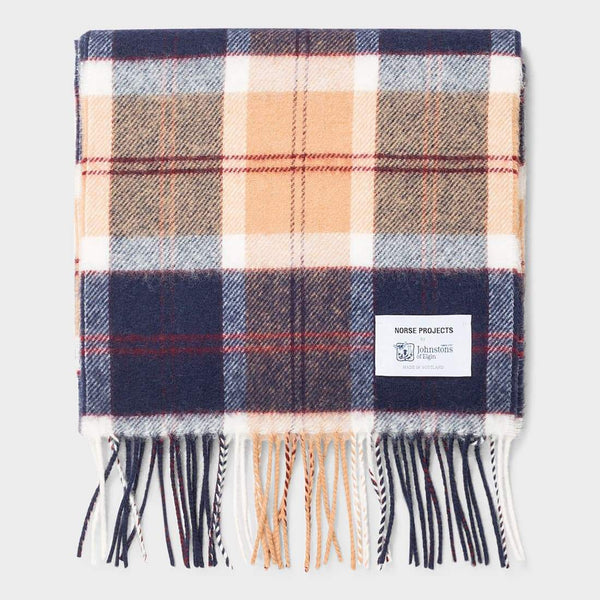 product: Norse Projects Norse x Johnstons Check Scarf Hematite Red