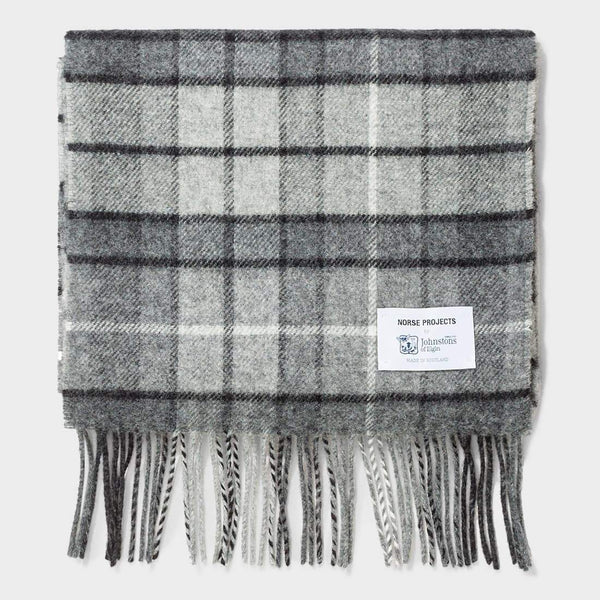product: Norse Projects Norse x Johnstons Check Scarf Mouse Grey