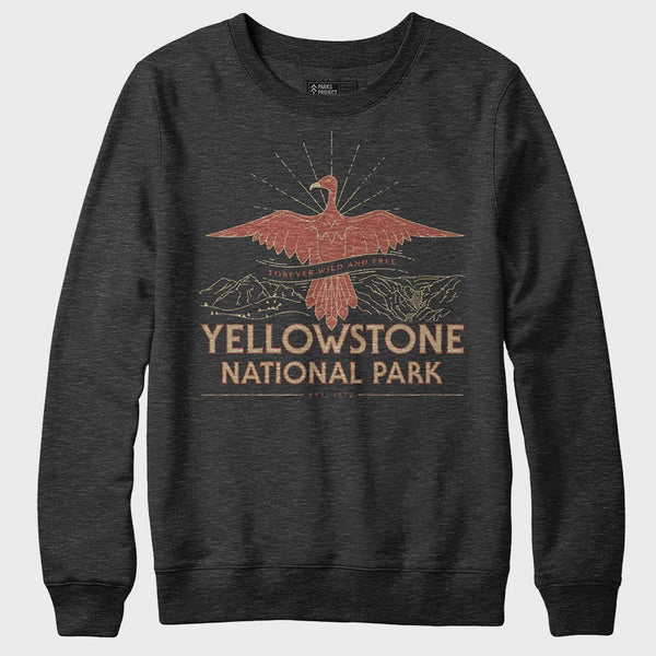 product: Parks Project Yellowstone Firebird Crewneck Fleece Heather Black