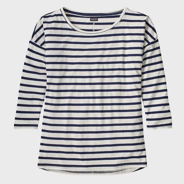 product: Patagonia Women's Shallow Seas 3/4-Sleeved Top Midnight Stripe Classic Navy