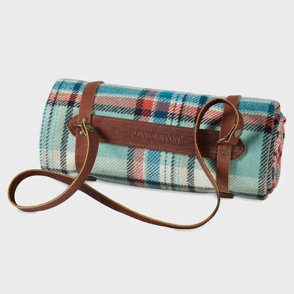 product: Pendleton Washable Throw With Leather Carrier Aqua Sky