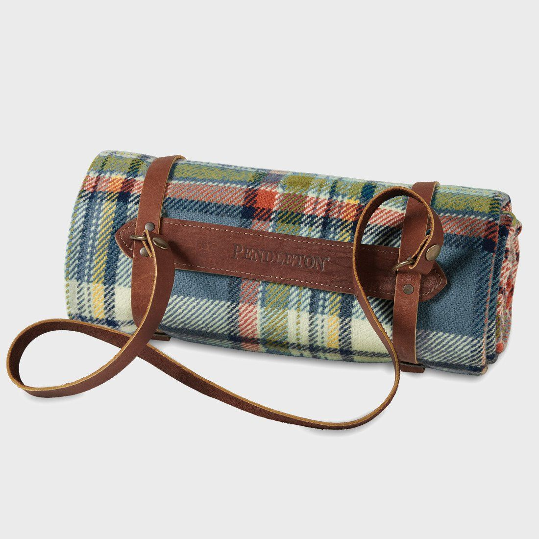 Pendleton Washable Throw With Leather Carrier Slate Sky