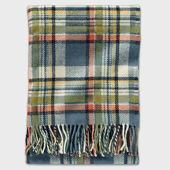 product: Pendleton Washable Throw With Leather Carrier Slate Sky