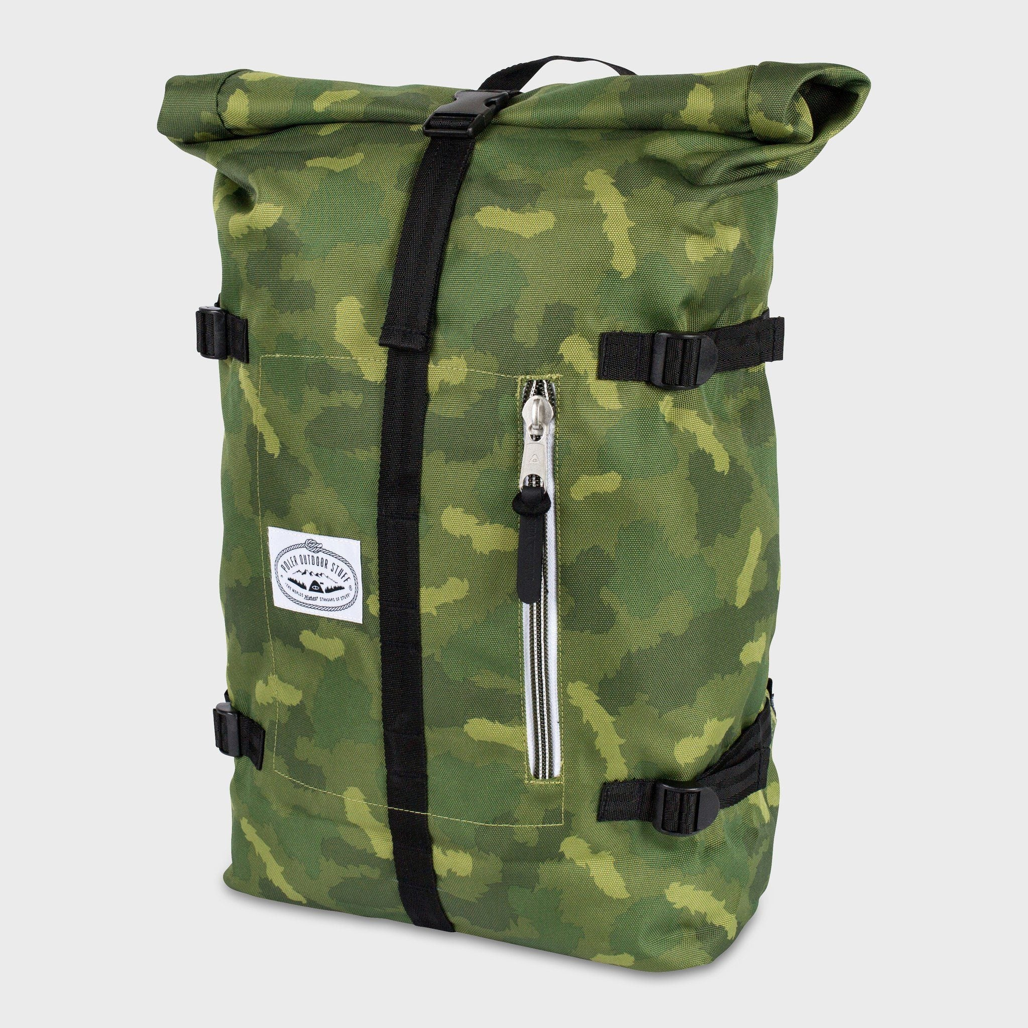 Poler Classic Rolltop Backpack Green Furry