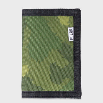 product: Poler Tri Fold Wallet Green Furry
