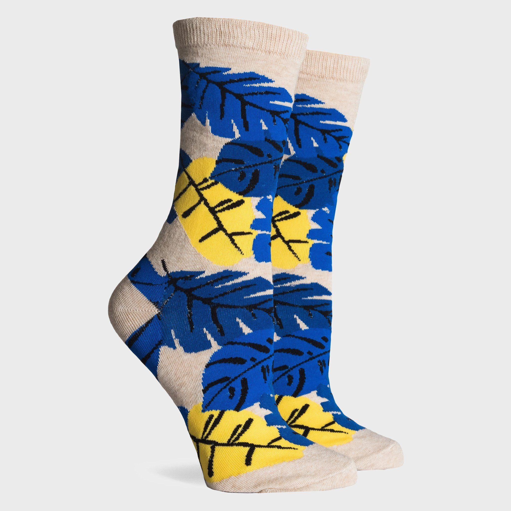 Richer Poorer Tropics Socks Oatmeal Yellow