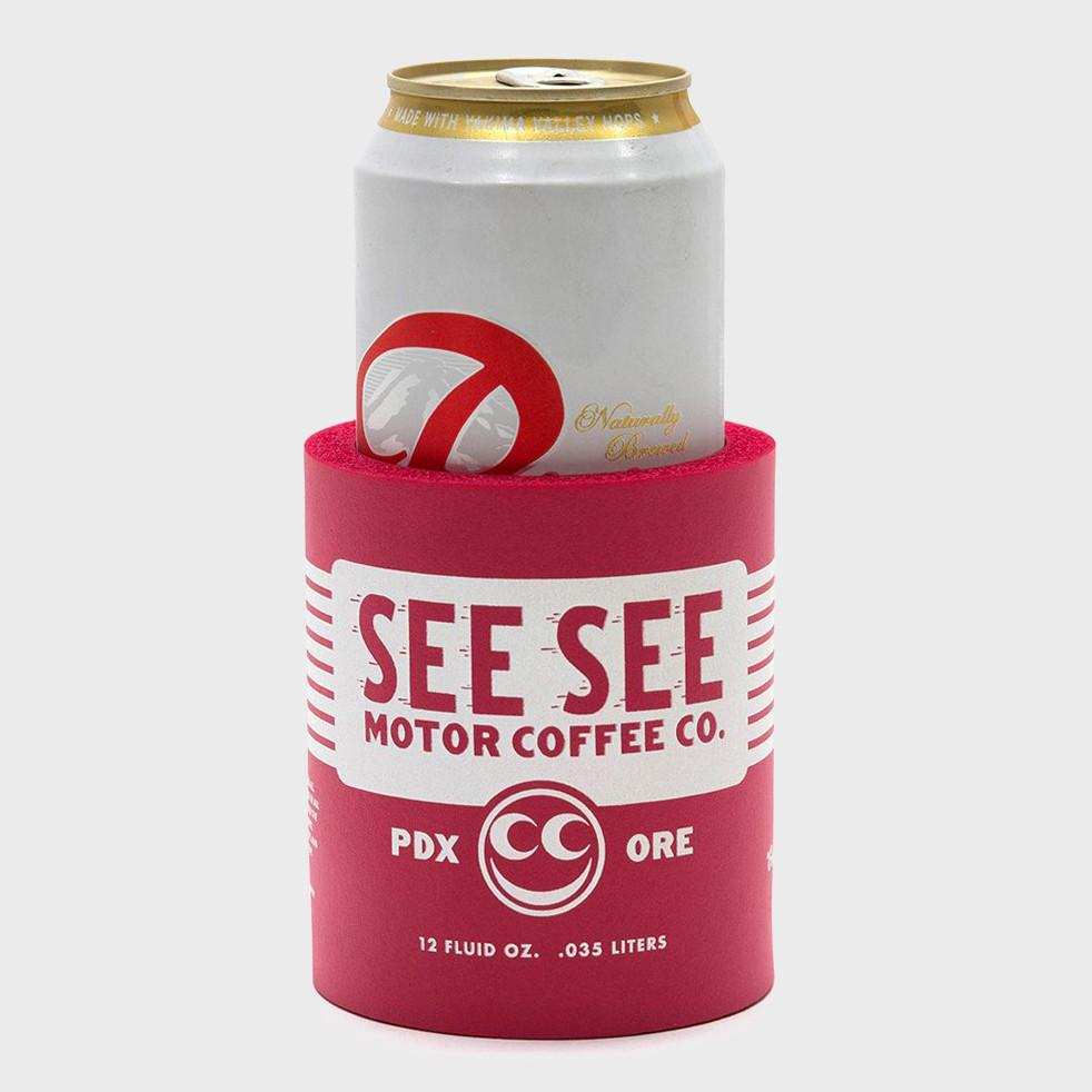See See Motorcycles Oil Can Koozie