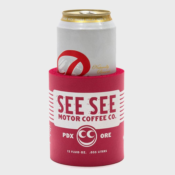 product: See See Motorcycles Oil Can Koozie