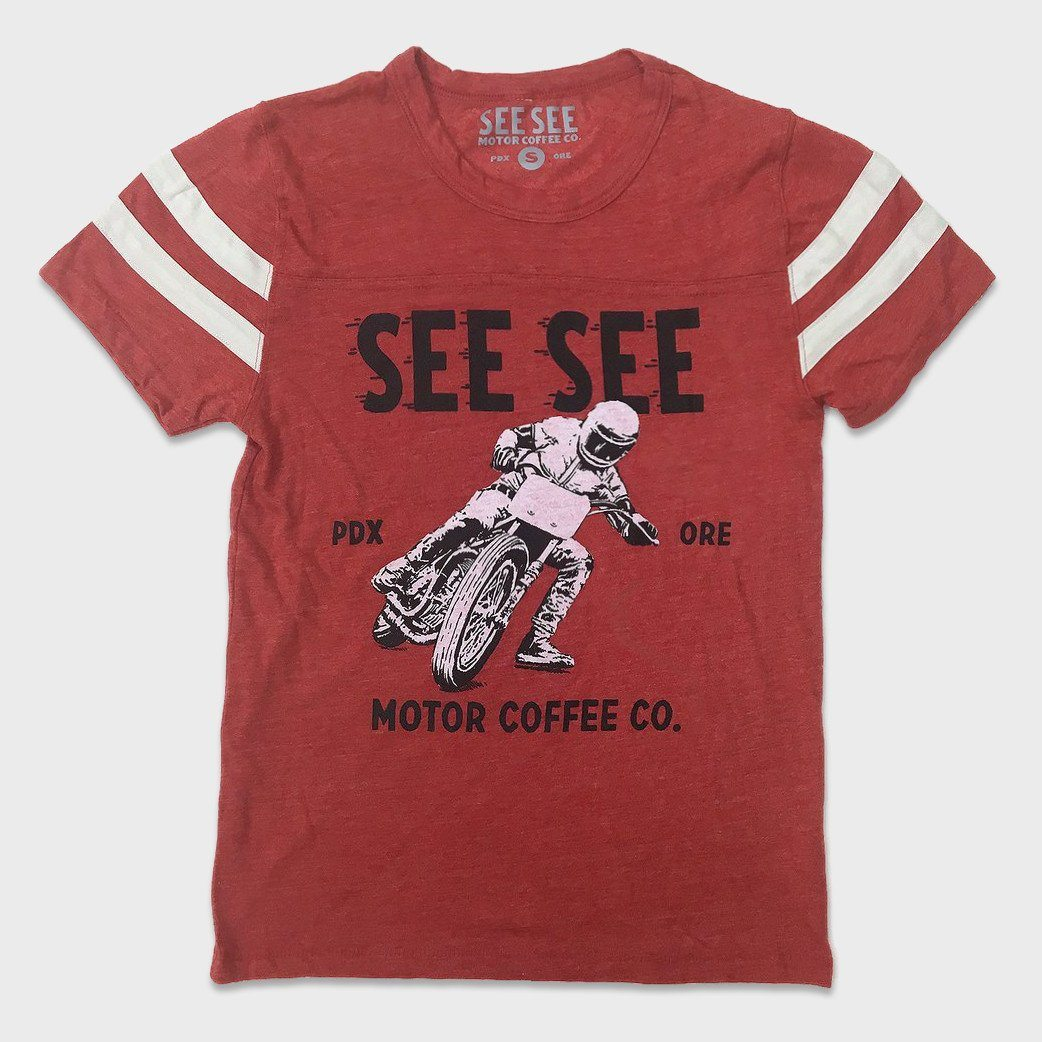 See See Motorcycles Racers Stripes T-shirt Red
