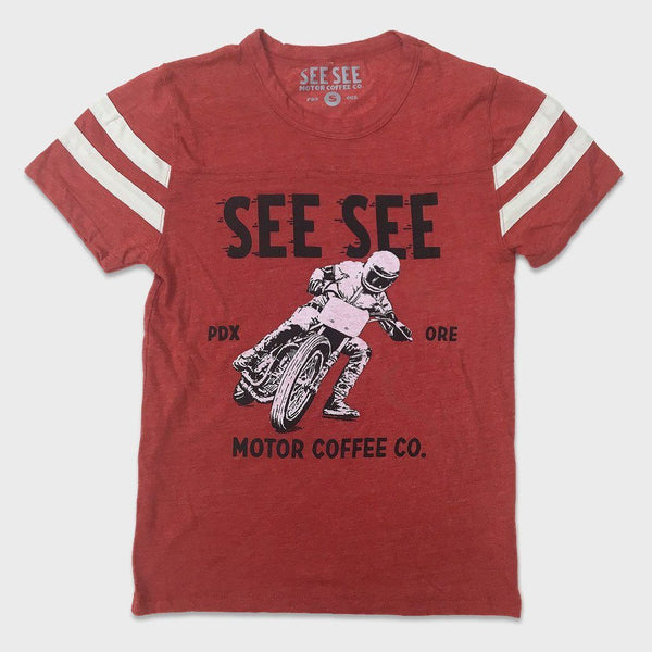 product: See See Motorcycles Racers Stripes Tee Red
