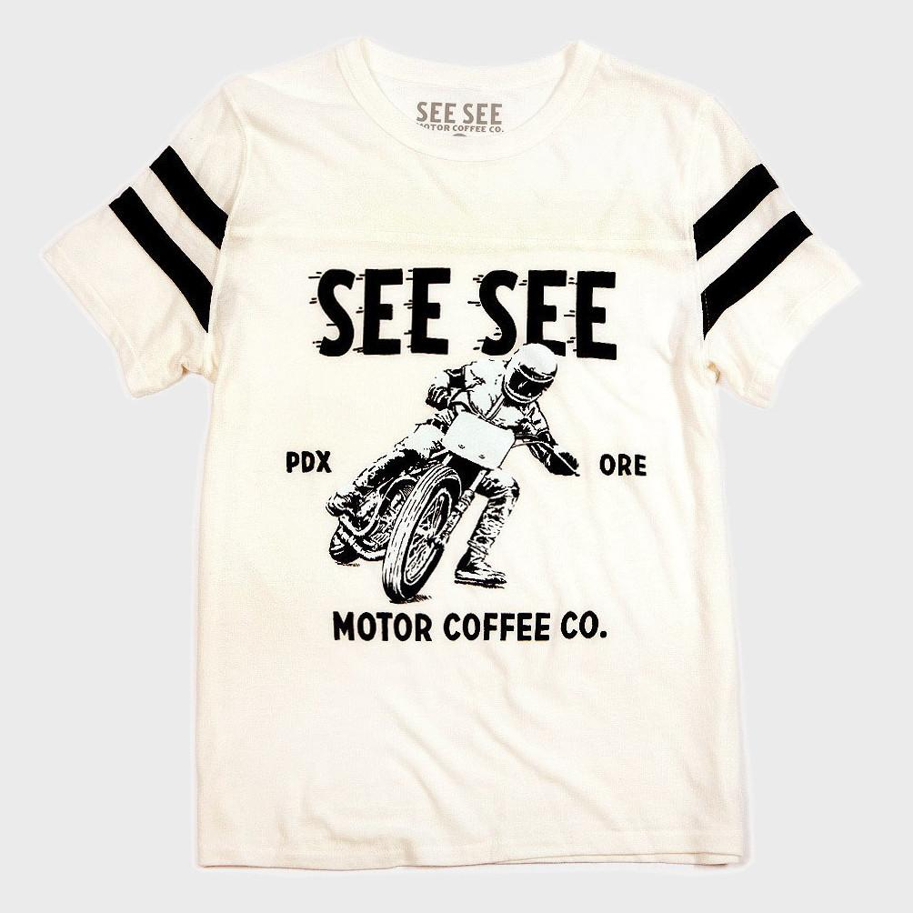 See See Motorcycles Racers Stripes T-shirt White