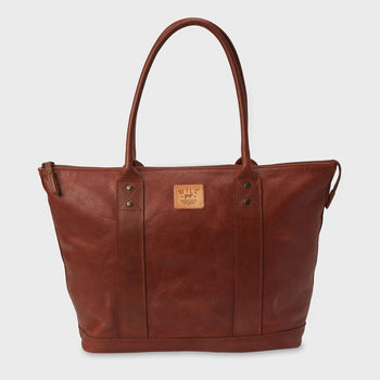 product: Will Leather Goods Signature Leather Getaway Tote Cognac