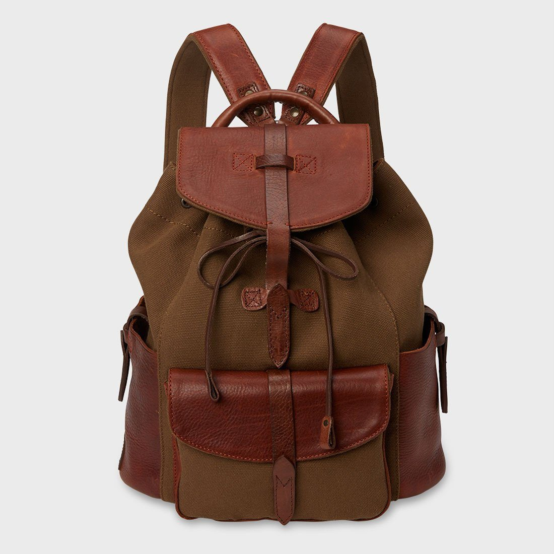 Will Leather Goods Canvas And Leather Rainier Backpack Tobacco Saddle 0f429bd93