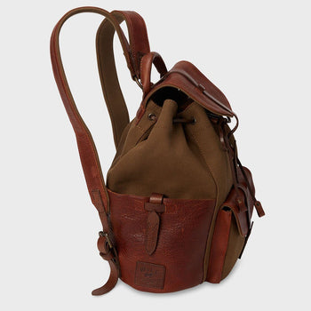 product: Will Leather Goods Canvas And Leather Rainier Backpack Tobacco/Saddle
