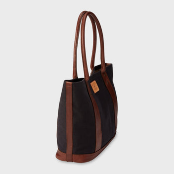 product: Will Leather Goods Signature Canvas & Leather Everyday Tote Black/Brown