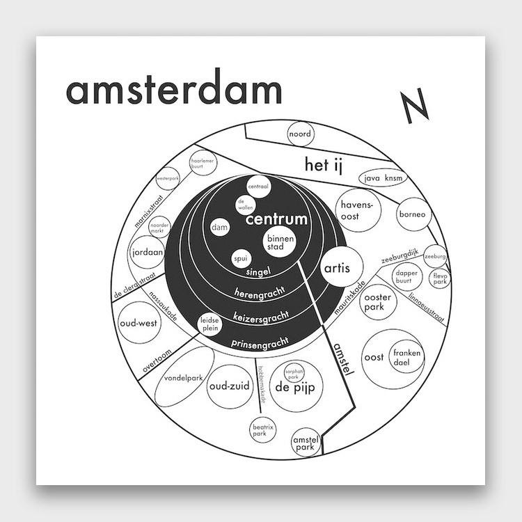 Archie's Press Amsterdam Map Print