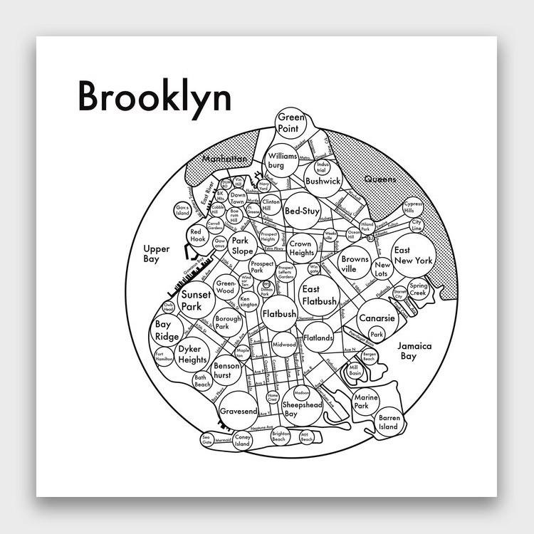 Archie's Press Brooklyn Map Print