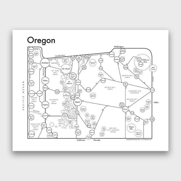 product: Archie's Press Oregon Map Print