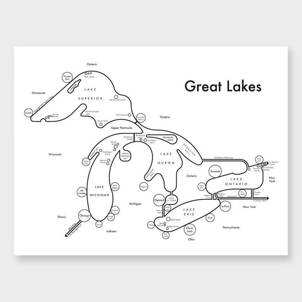product: Archie's Press Great Lakes Map