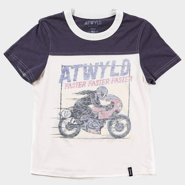 product: Atwyld Track T-shirt Cream / Navy