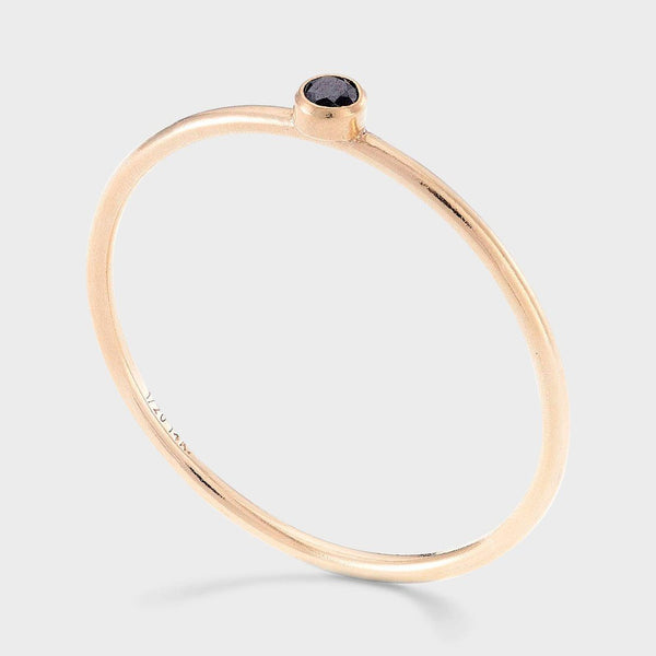 product: Baleen Black Spinel Stacking Ring Gold