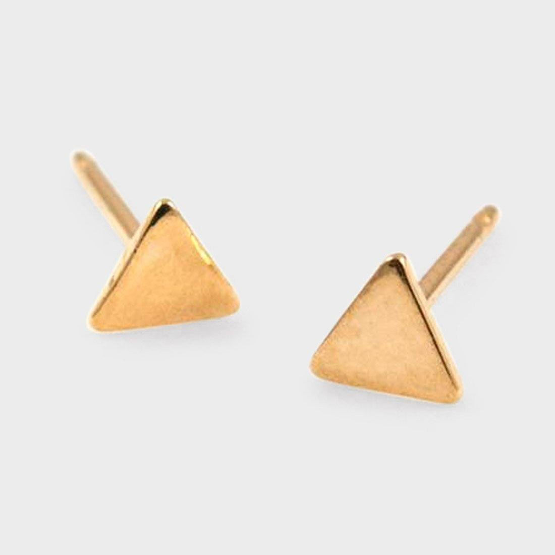 Baleen Teeny Tiny Triangle Studs Gold