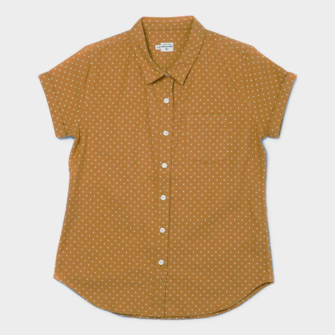 Bridge & Burn Women's Bea Button Up Gold Polkadot