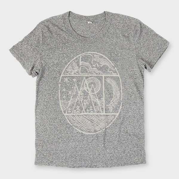 product: Bridge & Burn Women's Nature Oval T-Shirt Dark Heather