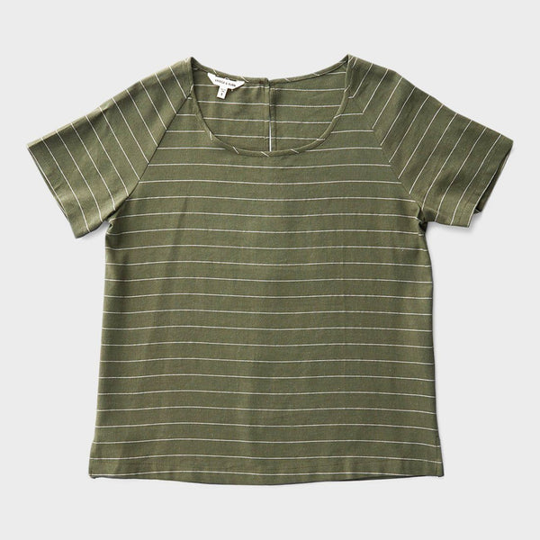 product: Bridge & Burn Women's Reese T-Shirt Olive Stripe
