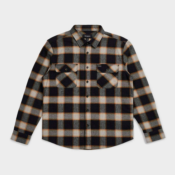 product: Brixton Bowery Flannel Plaid Black/Cream
