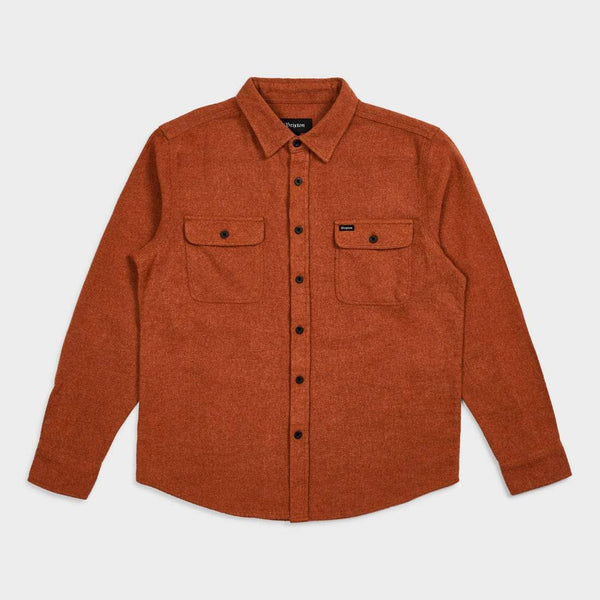 product: Brixton Bowery Solid L/S Flannel Clay