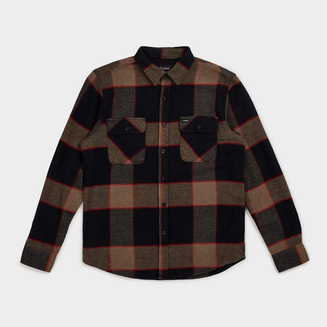 Brixton Bowery Flannel Plaid Heather Grey/Charcoal