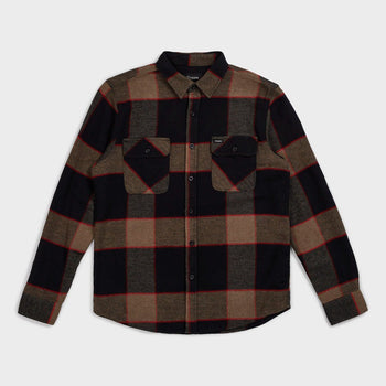 product: Brixton Bowery Flannel Heather Grey/Charcoal