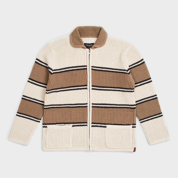 product: Brixton Powell Zip Cardigan Ivory/ Taupe