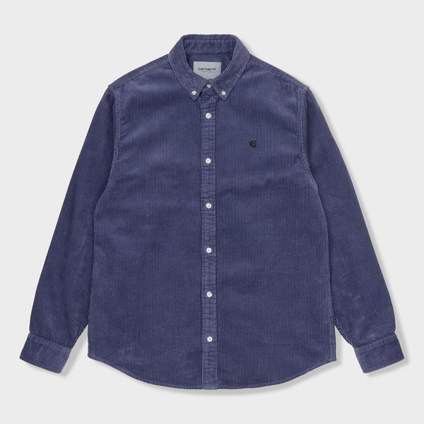 product: Carhartt WIP L/S Madison Cord Shirt Cold Viola/ Black
