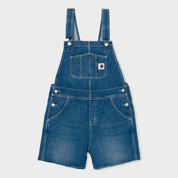 product: Carhartt WIP Women's Bib Short Dark Blue Stone Washed