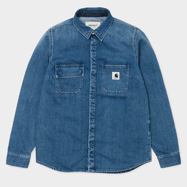product: Carhartt WIP Women's L/S Salinac Shirt Blue Stone Washed