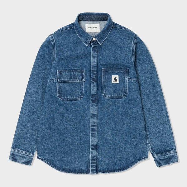 product: Carhartt WIP Women's L/S Salinac Shirt Blue/Stone Washed