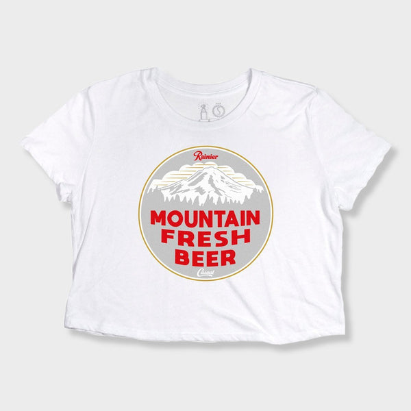 product: Casual Industrees Casual x Rainier Women's Mountain Fresh Cropped Tee White