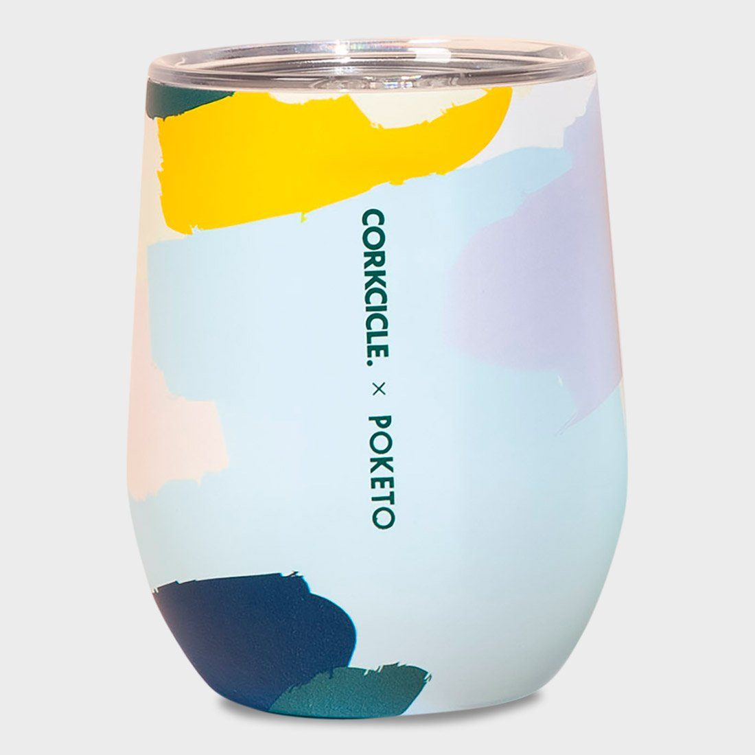 Corkcicle x Poketo Stemless Wine Tumbler 12 oz White Brush Stroke