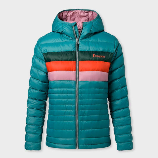 product: Cotopaxi Women's Fuego Hooded Down Jacket Submarine Stripes