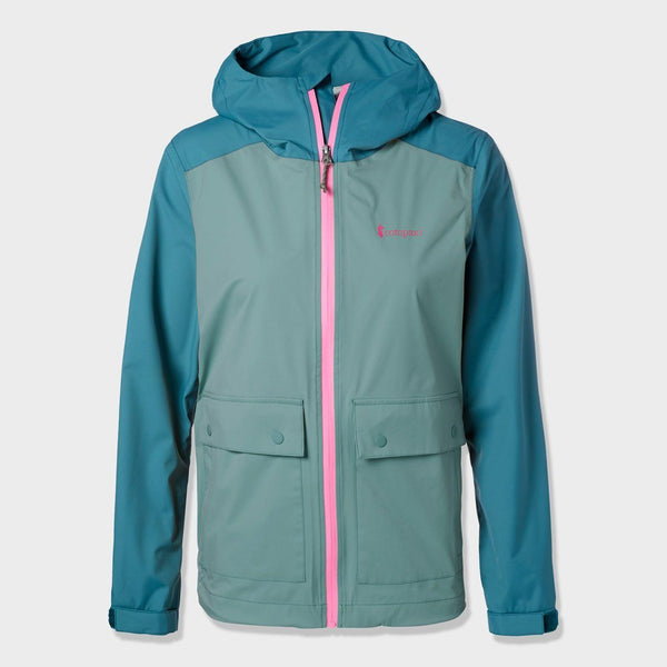 product: Cotopaxi Women's Parque Stretch Rainshell Sage/ Submarine