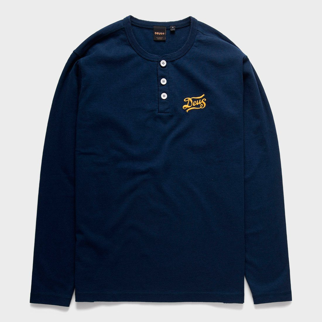 Deus Ex Machina Flagged Henley LS Shirt Navy